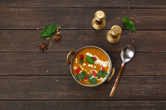 Vegan and vegetarian indian cuisine dish, spicy lentil dahl soup Royalty Free Stock Photo