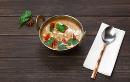 Vegan and vegetarian indian cuisine dish, spicy lentil dahl soup Royalty Free Stock Image