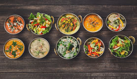 Vegan and vegetarian indian cuisine hot spicy dishes Royalty Free Stock Photography