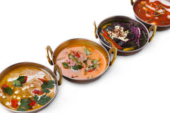 Vegan and vegetarian indian cuisine hot spicy dishes Royalty Free Stock Images