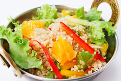Vegan and vegetarian indian restaurant dish, fresh quinoa salad isolated Stock Photography
