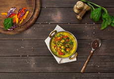 Vegan and vegetarian indian restaurant dish, spicy curry from tofu Royalty Free Stock Photos