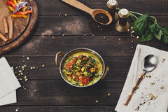Vegan and vegetarian indian restaurant dish, spicy curry from tofu Royalty Free Stock Images