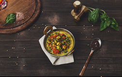 Vegan and vegetarian indian restaurant dish, spicy curry from tofu Stock Photography