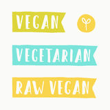 Vegan, vegetarian, raw food signs. Vector hand drawn illustration Royalty Free Stock Photo