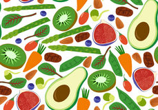 Vegan vegetarian seamless pattern. Fruits and vegetables background avocado kiwi spinach chard raw cacao goji berry bean sprout. V. Ector illustration Royalty Free Stock Photography