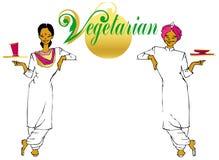 Vegan / vegetarian series. Indian waitress and waiter (vegetarians Royalty Free Stock Photography