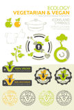 Vegan and vegetarian  set. Vector icons and symbols for vegetarian and vegan nutrition Stock Photography