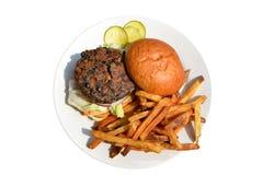 Vegan veggie burger with fries Stock Photography