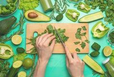 Vegan vert en bonne santé faisant cuire des ingrédients Dépouiller-configuration des mains femelles coupant les légumes verts et  image stock