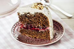 Vegan Walnut Lingonberry Cake with Cashew nut Frosting Royalty Free Stock Photography