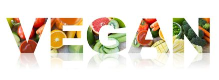 Vegan word of fruits and vegetables background Royalty Free Stock Image