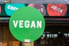 Vegan Word Green Disk Sign Stock Photo