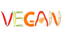 Vegan. Word written with letters formed from vegetables stock photo