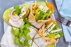 Vegan wrap or fajitas with tofu Royalty Free Stock Photography