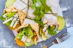 Vegan wrap or fajitas with tofu Stock Photos