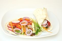 Vegan wraps with fresh, raw vegetables Stock Images