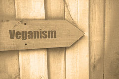 Veganism sign on wood Stock Photos
