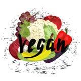 Veganist met vruchten Royalty-vrije Stock Fotografie