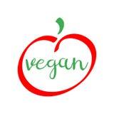Veganist rood en groen embleem gezond voedsel vectorsymbool Stock Fotografie