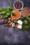 Veganistbronnen van proteïne royalty-vrije stock afbeeldingen