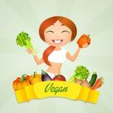 Veganistmeisje vector illustratie