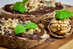 Veganistroom Nutella met avocado en banaan Royalty-vrije Stock Afbeeldingen