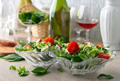 Veganistsalade met tomaat, arugula en spinazie Stock Fotografie