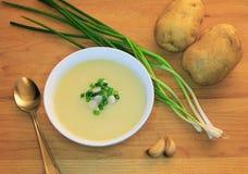 Veganistsoep: Knoflook en aardappel Stock Fotografie