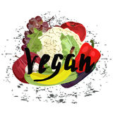 Vegano con las frutas Fotografía de archivo libre de regalías