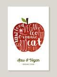 Vegano ed illustrazione cruda di concetto della mela dell'alimento Immagine Stock