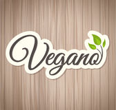Vegano - Vegan spanish text, Vector icon design Stock Images