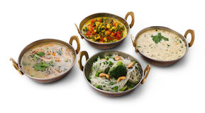 Vegano y platos picantes calientes de la cocina india vegetariana Imagen de archivo libre de regalías
