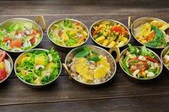 Vegano y platos picantes calientes de la cocina india vegetariana Fotografía de archivo libre de regalías