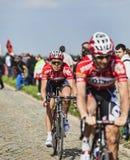 Vegard Breen- Paris Roubaix 2014. Carrefour de l'Arbre,France-April 13,2014:The Norwegian cyclist Vegard Breen from Lotto-Belisol Team riding on the famous Stock Photo