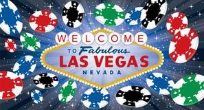 Vegas-blaue Spielmarken breit Stockbild