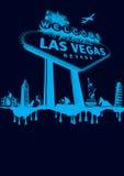 Vegas-blue. Vegas poster montage cyan on black Stock Image