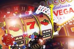 Vegas Casino Games Concept. Las Vegas Entertainment Conceptual 3D Render Illustration Stock Image