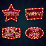 Vegas casino night signboard template vector illustration