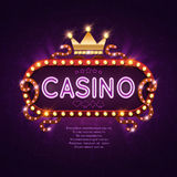 Vegas casino retro light sign for game background vector illustration. Banner billboard casino glowing stock illustration