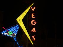 Vegas and cocktail glass neon sign. Stock Photo