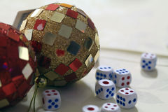 Vegas concept - dice and disco ball Royalty Free Stock Photography