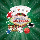 Vegas dice card green. Las Vegas sign with casino icons on green starburst, vector background royalty free illustration