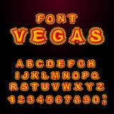 Vegas font. Glowing lamp letters. Retro Alphabet with lamps. Vin Stock Image