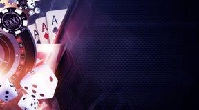 Vegas Games Background. Casino Gambling Banner Backdrop Concept royalty free illustration