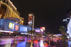 Vegas lights reflecting in flood water on Las Vegas Boulevard in Royalty Free Stock Images