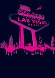 Vegas-pink. Vegas poster montage magenta on black Royalty Free Stock Photos