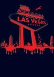 Vegas-red. Vegas poster montage red on black Stock Image
