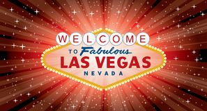 Vegas red burst wide. Vector transparent sign of las vegas with stars and burst on red background, layered and fully editable royalty free illustration