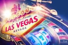 Vegas Roulette and Slot Games Stock Photos